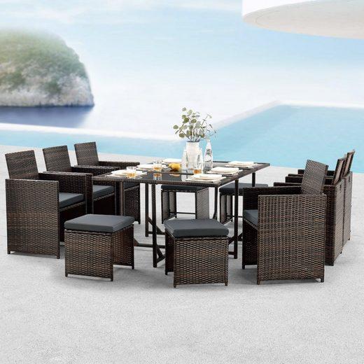 en.casa Gartenmöbelset, (11-tlg), »Laredo« Sitzgruppe XL Gartentisch mit Stühlen und Hocker Polyrattan Braun meliert