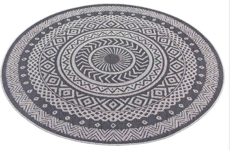 Teppich »Sia«, Leonique, rund, Höhe 3 mm, Wohnzimmer, In- und Outdoor geeignet