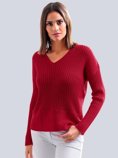 Alba Moda V-Ausschnitt-Pullover aus hochwertiger Pima Baumwolle