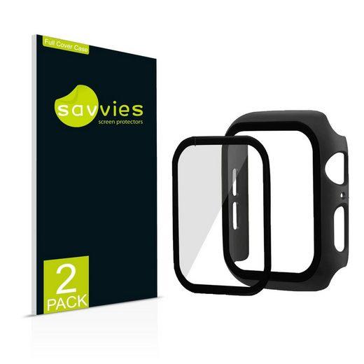 Savvies Schutzfolie »2x Savvies Hülle mit Panzerglas, Full Cover Case für Apple Watch Series 6 (40 mm) (schwarz)«, (2 Stück)