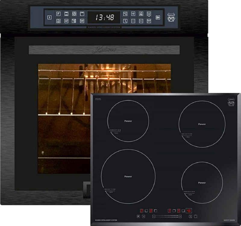 Kaiser Küchengeräte Elektro-Herd-Set EH 6306 RS + KCT 6705 FI, Einbaubackofen,Schwarzes Stahl, schwarzes Glas,79L 15 Fkt. Grill Air fryer Full Touch,Funktion Heißluftfritteuse,Autark, Heißluftofen, Herausnehmbare Glasstür, mit Grill, Umluftofen, Katalytisches Reinigungssytem+4 Kochzonen, Einbau Herd, Power Booster, Full Touch Control, Autark