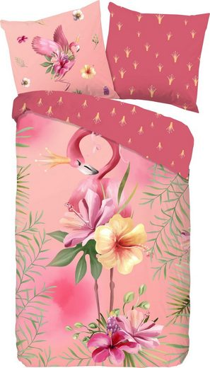 Kinderbettwäsche »Queen«, good morning, mit Flamingo