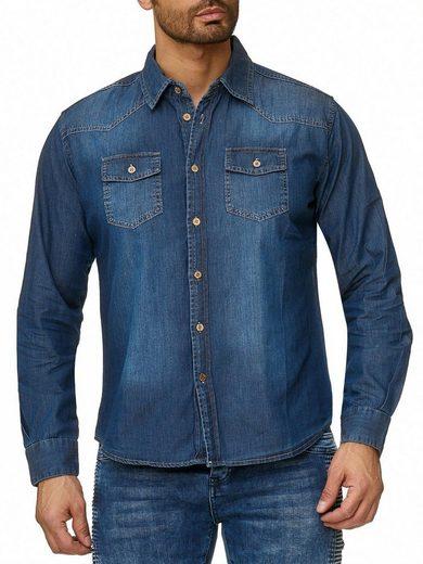 Reslad Jeanshemd »Reslad Jeanshemd Herren Hemd Vintage Denim Jeans« leichtes Vintage Denim-Hemd