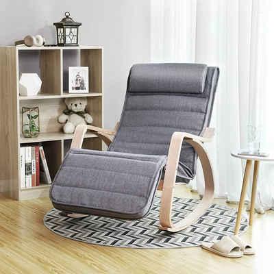 SONGMICS Sessel »LYY11G LYY10BV1«, Schaukelstuhl, Schwingstuhl, grau