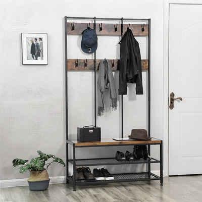 VASAGLE Garderobenständer »HSR86BX HSR98BX HSR086B02«, Kleiderständer mit 12 Kleiderhaken und Schuhregal, vintage