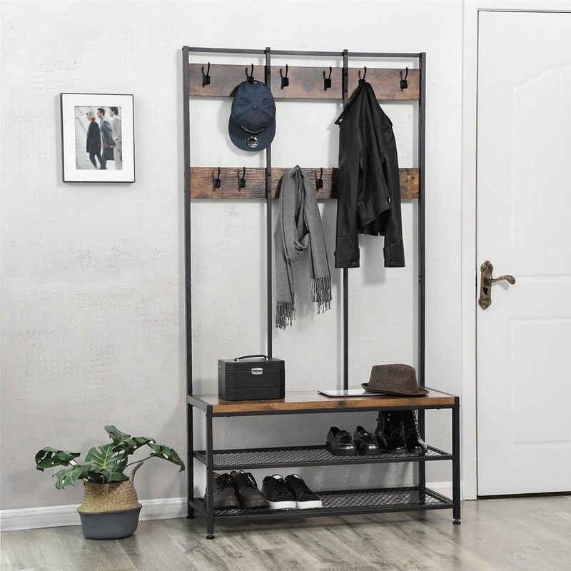 VASAGLE Garderobenständer »HSR86/086/98«, Kleiderständer mit 12 Kleiderhaken und Schuhregal, vintage