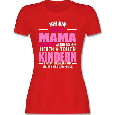 Shirtracer T-Shirt »Stolze Mama von zwei Kindern - weiß/fuchsia - Muttertagsgeschenk - Damen Premium T-Shirt«
