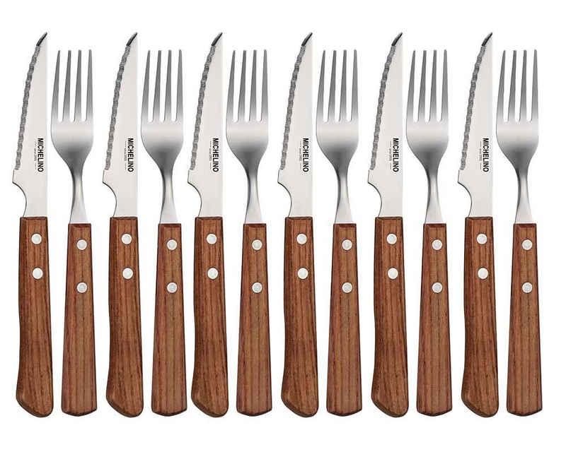 Michelino Steakbesteck »Michelino 12-tlg. Steakbesteck Set Besteckset Gabel Messer Steakmesser Klinge Holzgriff für 6 Personen«