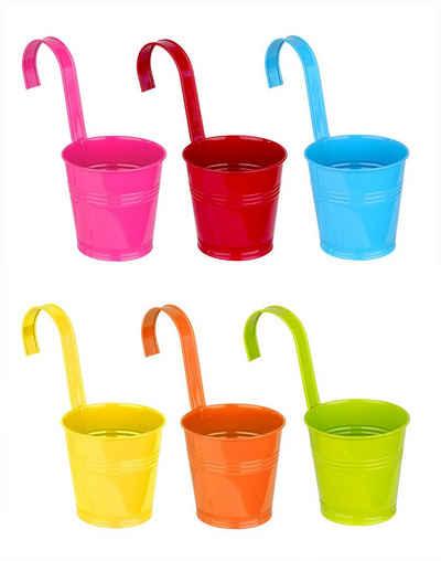 BigDean Blumentopf »6er Set Hängetöpfe aus Zink bunt − Mit Henkel − 21x11 cm − Blau, rot, orange, gelb, grün, rosa − Blumentöpfe zum Hängen« (6 Stück)