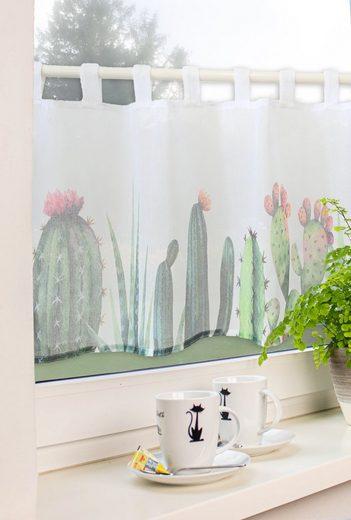 Scheibengardine »Schlaufengardine Scheibengardine Küchengardine 2485 Kaktus Weiß Grün«, EXPERIENCE, Schlaufen (1 Stück), Store
