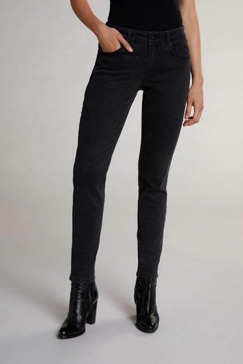 Oui Slim-fit-Jeans »Jeans mit Ziersteinen« Zierschleife