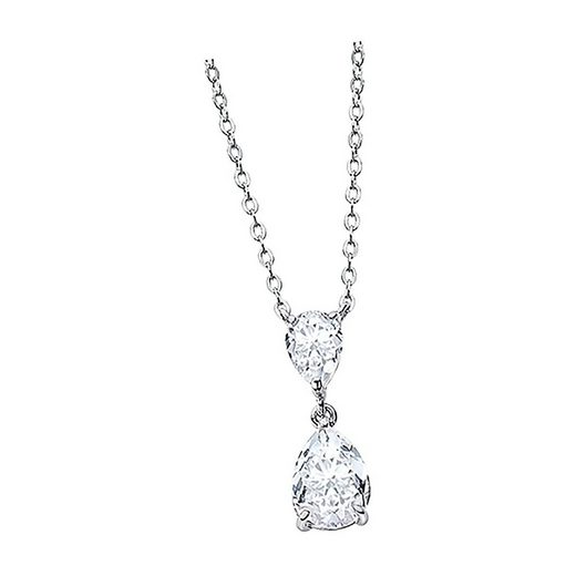 LOTUS SILVER Silberkette »JLP2014-1-1 Lotus Silver Tropfen Halskette« (Halsketten), Damen Kette Tropfen aus 925 Sterling Silber, silber, weiß
