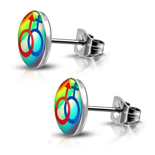 BUNGSA Ohrstecker-Set »Ohrstecker Rainbow Bunt aus Edelstahl Unisex« (inkl. Schmuckbeutel aus Organza), Ohrschmuck Ohrringe Frauen Geschenk Liebe