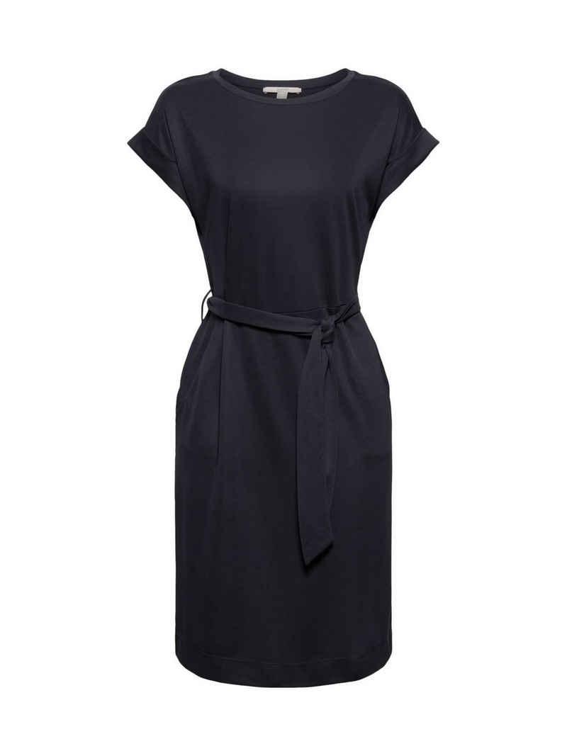 Esprit Midikleid »Fließendes Jerseykleid mit Bindegürtel«