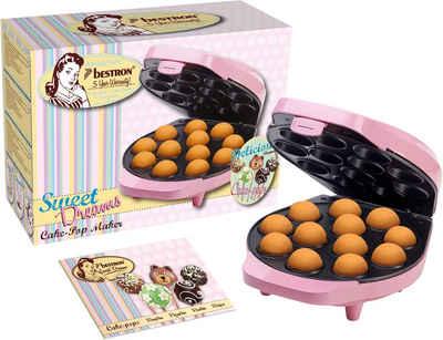 bestron Cakepop-Maker Sweet Dreams, 700 W, im Retro Design, Antihaftbeschichtung, Farbe: Rosa