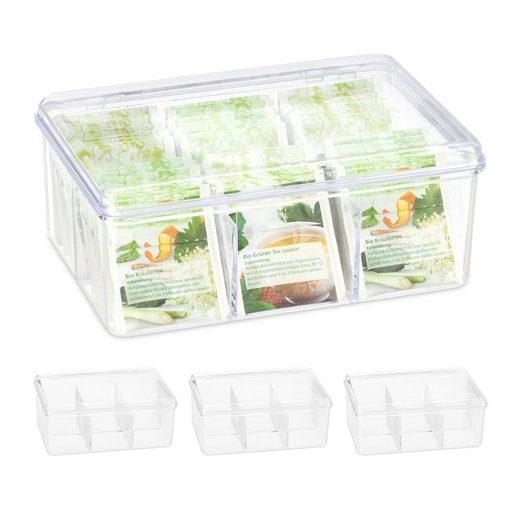 relaxdays Teebox »4 x Teebox transparent mit 6 Fächern«, PS