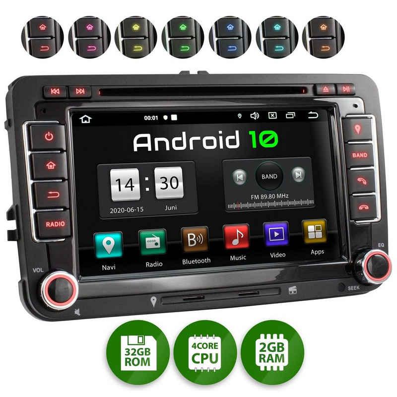 XOMAX Autoradio (XOMAX XM-10GA: 2DIN Autoradio mit Android 10 Navi 7 Zoll Touchscreen Monitor, Bluetooth, DVD, CD, SD und USB (passend für VW/SKODA/SEAT)