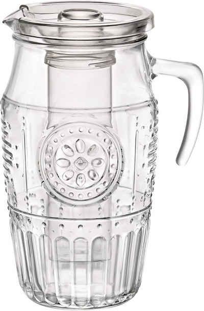 Bormioli Rocco Karaffe »Karaffe Romantic 1,8 Liter − Aus Glas − Deckel & Eiseinsatz − Wasserkrug, groß − Saftkanne, Glaskaraffe«