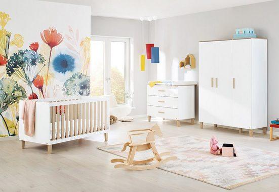 Pinolino® Babyzimmer-Komplettset »Lumi«, (Set, 3-St), breit groß; mit Kinderbett, Schrank und Wickelkommode; Made in Europe