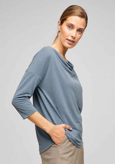 s.Oliver BLACK LABEL 3/4-Arm-Shirt »Shirt mit Wasserfall-Ausschnitt« (1-tlg)