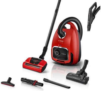 BOSCH Bodenstaubsauger ProAnimal Serie 6, BGL6TPET, 700 Watt, rot, 700 Watt, mit Beutel, Ideal für Haustierbesitzer
