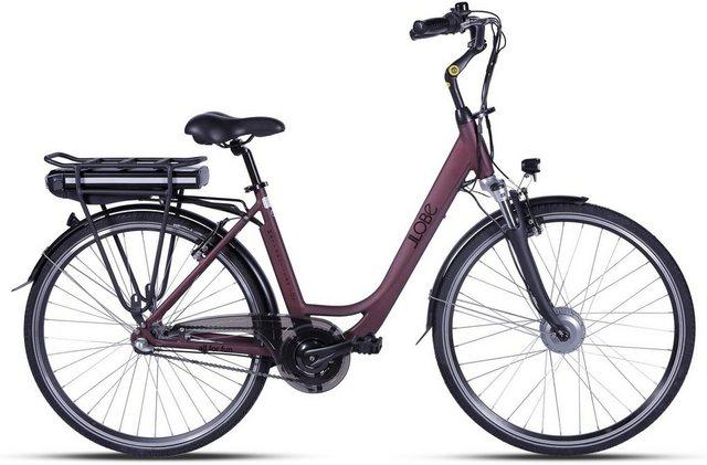 LLobe E-Bike »Metropolitan JOY rot 10 Ah«, 3 Gang, Nabenschaltung, Frontmotor 250 W – 11%