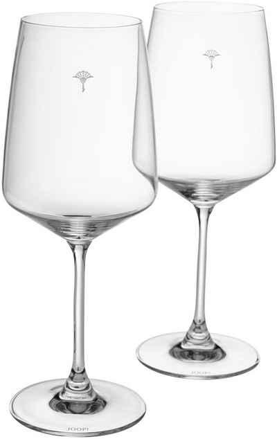Joop! Rotweinglas »JOOP! SINGLE CORNFLOWER«, Kristallglas, mit einzelner Kornblume als Dekor, 2-teilig