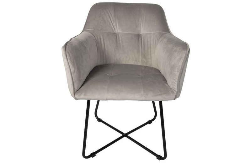 SAM® Armlehnstuhl »Kirin«, Polsterstuhl mit Absteppungen Samtbezug in silber und schwarzen Metallfüßen