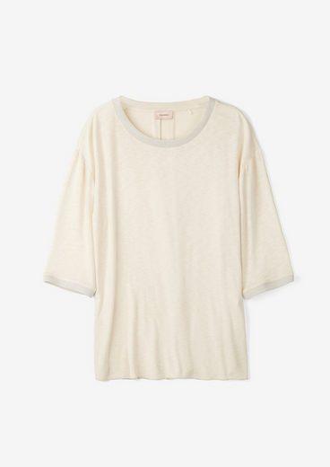 TRIANGLE 3/4-Arm-Shirt »Flammgarnshirt mit Rippblende« (1-tlg) Glitzer