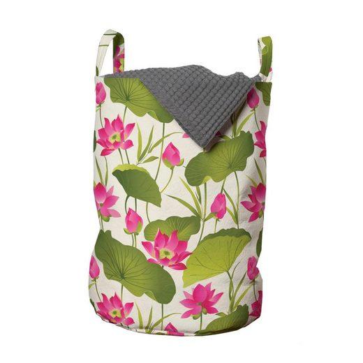 Abakuhaus Wäschesack »Wäschekorb mit Griffen Kordelzugverschluss für Waschsalons«, Blumen Heilige Lotus-Blumen-Kunst