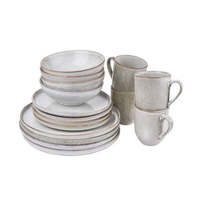 BUTLERS Single Geschirr-Set »HENLEY Geschirr-Set 16- tlg.«, 16-teiliges Geschirrset - Geschirr aus Steinzeug -Teller, Schalen und Tassen in Grau - Speiseteller, Frühstücksteller, Schale, Tasse