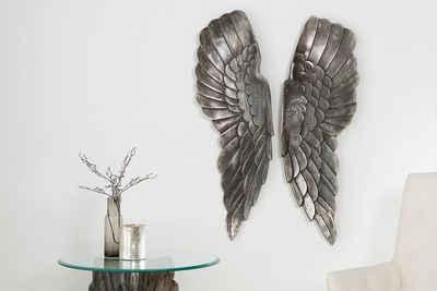 riess-ambiente Wanddekoobjekt »FALLEN ANGEL 65cm silber« (2 Stück), Flügel · Wanddekoration · Wohnzimmer · Metall