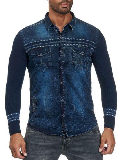 Schlussverkauf Egomaxx Hemd »2893« Besticktes Herren Hemd in Jeans Optik
