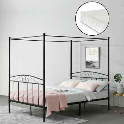 en.casa Himmelbett, »Tournai« Metallbett Doppelbett mit Kaltschaummatratze schwarz 140x200cm