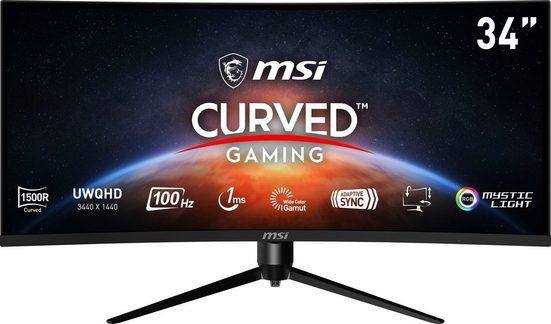 """MSI Optix MAG342CQRV Curved-Gaming-Monitor (86 cm/34 """", 3440 x 1440 Pixel, UWQHD, 1 ms Reaktionszeit, 100 Hz, VA LCD, 3 Jahre Herstellergarantie)"""
