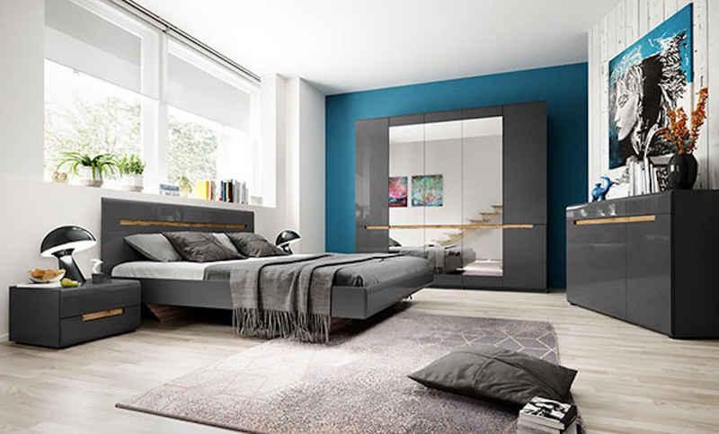 Feldmann-Wohnen Schlafzimmer-Set »HEKTOR«, (Set, Besteht aus: - 1 Kleiderschrank - 1 Bett - 2 Nachtkonsolen - 1 Sideboard; 5-tlg), 160 x 200cm oder 180 x 200cm