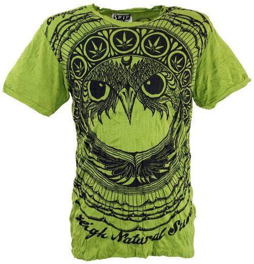 Guru-Shop T-Shirt »Sure T-Shirt Eule - lemon«