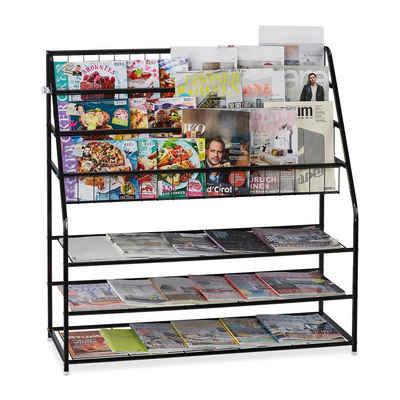 relaxdays Zeitungsständer »XL Zeitschriftenregal aus Metall«