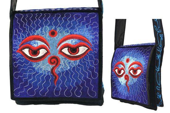 Guru-Shop Schultertasche »Hippie Tasche, Bestickte Motivtasche Buddha Eye«