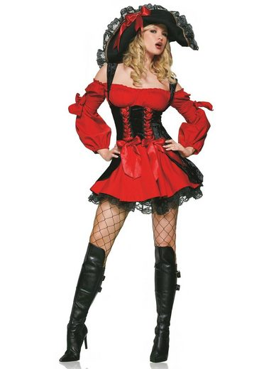 24costumes Kostüm »Vixen Pirate Wench - Groesse: M - Farbe: Red, Black«