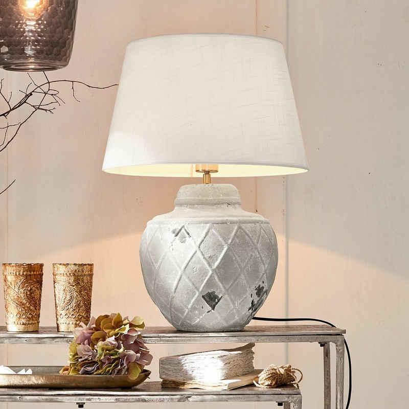 Mirabeau Tischleuchte »Tischlampe Crevin weiß/grau«