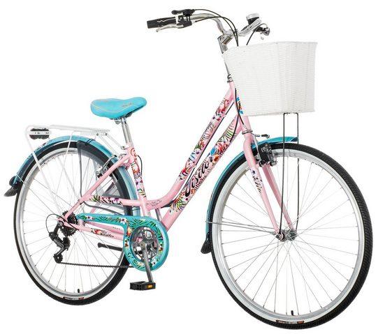 breluxx Cityrad »28 Zoll Damenfahrrad Venera Fashion Flamingo Citybike mit Korb + Licht, Retro Bike«, 6 Gang Shimano Tourney Schaltwerk, Kettenschaltung