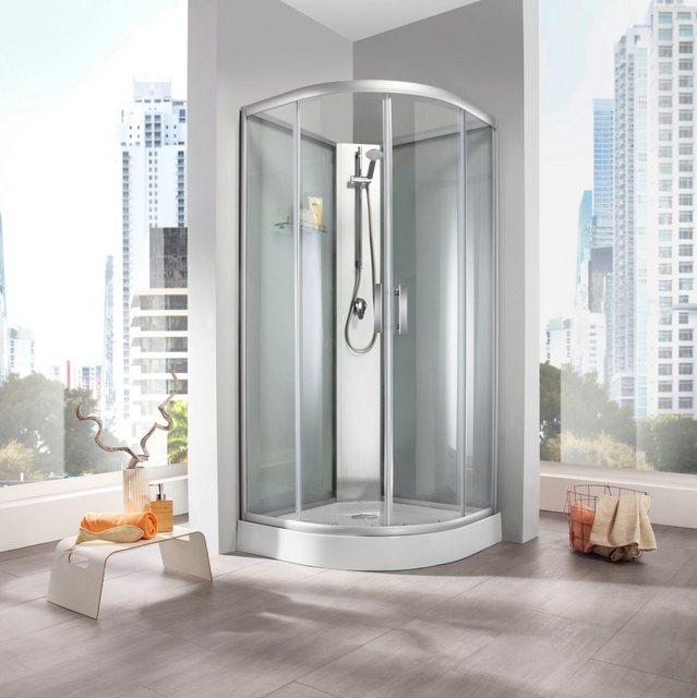 Duschen und Zubehör - WELLTIME Fertigdusche »Rom«, BxT 90 x 90 cm, frosted glass, Viertelkreis Runddusche  - Onlineshop OTTO