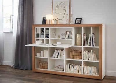 SCHÖNER WOHNEN-Kollektion Regalelement »DIMARO«, mit Schreibtischklappe und 13 Nischen, Lack-Asteiche Ausführung