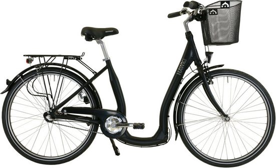 HAWK Bikes Cityrad »HAWK City Comfort Premium Plus Black«, 3 Gang Shimano Nexus Schaltwerk