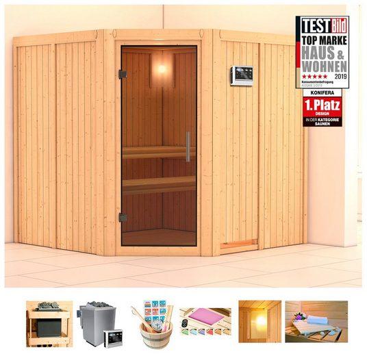 KONIFERA Sauna »Oliv 3«, 196x196x198 cm, 9 kW Bio-Ofen mit ext. Strg, Glastür graphit
