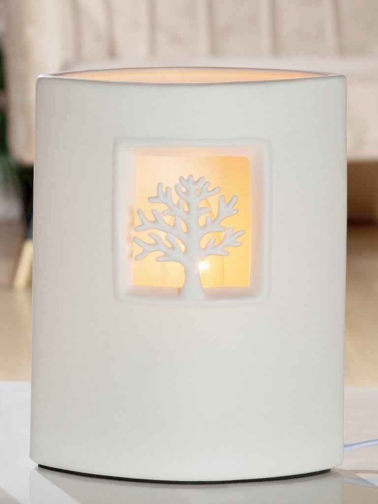 GILDE Nachttischlampe »Porzellan Lampe Ellipse Baum H 21cm«