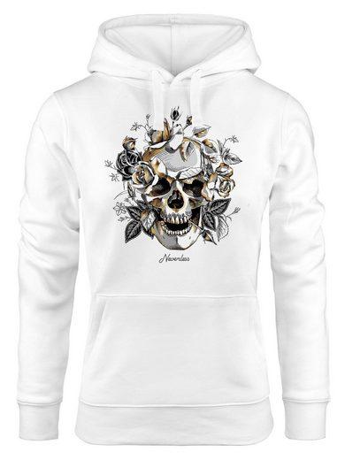 Neverless Hoodie »Hoodie Damen Totenkopf Rosen Skull Roses Schädel Kapuzen-Pullover Frauen Neverless®«