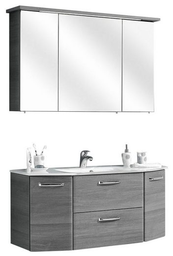 PELIPAL Badmöbel-Set »Alika«, (2-tlg), Spiegelschrank inkl. LED-Beleuchtung, Waschtisch-Kombination, Glasbecken, Metallgriffe, Türdämpfer