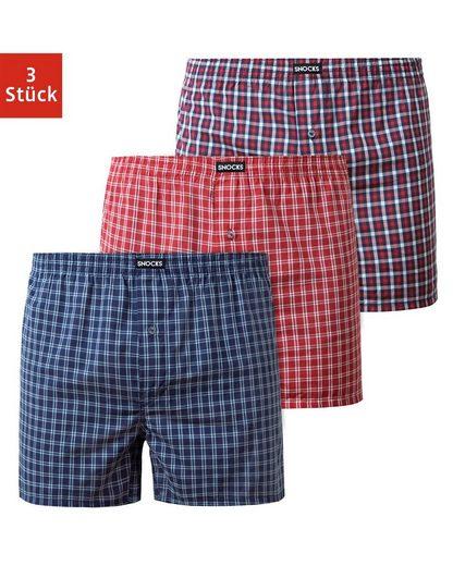SNOCKS Weiter Boxer »American Woven Retro Shorts« (3 Stück) bequeme weite Passform